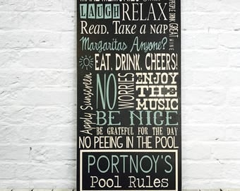 Pool Rules, Pool Rules Sign, Wood Sign, Pool Decor, Personalized Family Pool Rules Sign, Custom Pool Rules Sign, Patio Rules, Porch Rules