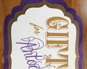 RESERVED FOR ADRIEN - Custom Retirement Event Sign Package in Purple Gold Glitter - Diva Champagne Retired & Fabulous