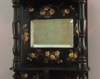 Antique Black Lacquer Wall Shelf with Mirror, Chinoiserie Wall Shelf, Black Lacquer Wall Shelf, Black Lacquer Shelf, Wall Shelf with Mirror