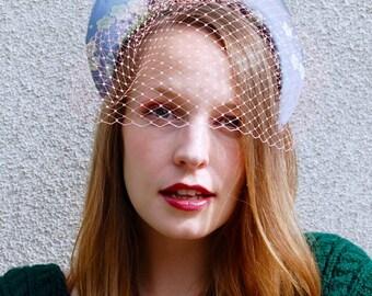 Grey and Coral Kimono Silk Modern Crown Fascinator Hat with veil