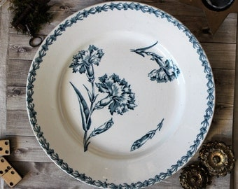 French antiques big ironstone plate Lunéville Oeillet Art Nouveau cottage 1900s shabby chic chateau french country