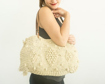 Raffia Handbag Tote Leather Bag Cream Bag Tote Boho Bag Women Bag Leather Tote Fashion Women Accessory Handmade Bag Summer Bag Crochet Bag
