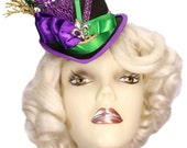 Mini Top Hat Mardi Gras Fleur Victorian Steampunk Tea Party Fascinator Cocktail Tiny