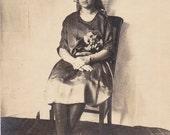 Sitting Pretty- 1910s Antique Photograph- Edwardian Fashion- Teenage Girl- Found Photo- Portrait- Vernacular Snapshot- Paper Ephemera