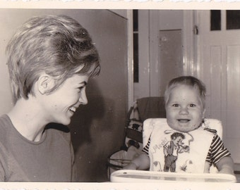 Mecki Hedgehog- 1960s Vintage Photographs- SET of 2- German Mother and Son- Feeding Baby- 60s Fashion- Found Photos- Paper Ephemera