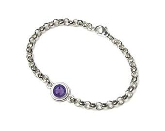 December Birthstone Bracelet Tanzanite Swarovski Crystal Women's Personalized Silver Bracelet Purple Rhinestone Gem Birthday Gift Jewelry