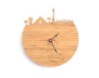 Las Vegas Skyline Clock - Cherry and Walnut Modern Wall Clock