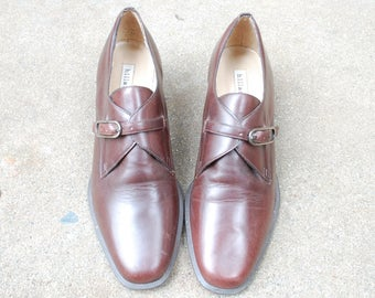 Vintage Womens 6.5 Hillard and Hanson Brown Leather Monk Strap Buckle Oxfords Classic Dress Shoes Loafers Boho Brazilian Preppy Hipster Moto