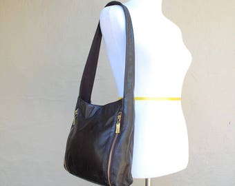 Vintage Nine West Black Genuine Leather Shoulder Bag Purse Tote handbag satchel