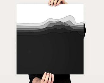 Layered Black White Vector Art Print