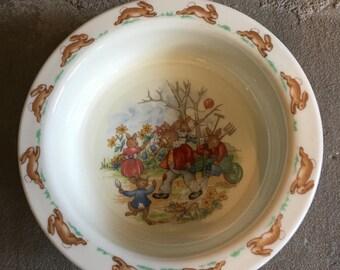 Bunnykins Baby Plate Family In Garden Vintage Royal Doulton Fine Bone China  - #D2132