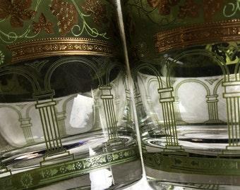 Cera Green Golden Grapes Whiskey Glass Tumblers 22K Gold & Green Vintage Glasses - #F1117