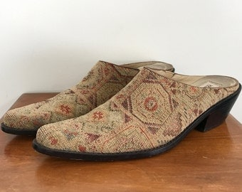 90s Matisse textile leather mules US 8.5 / UK 6.5
