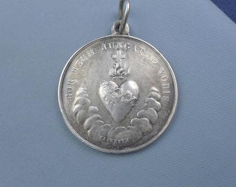 "Vintage Sacred Heart Mary Sterling Silver Medal by Vachette Religious Medal Pendant on 18"" sterling silver rolo chain"