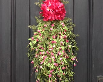 SALE-was 75.00-Spring Wreath-Summer Wreath-Teardrop Vertical Door Swag Decor-Pink Hydrangea-Pink Floral Swag-Lime-Wispy-Indoor/Outdoor
