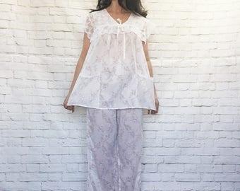 Vintage 80s Gunne Sax Prairie Victorian Pajama Pants Top Set Lace Pockets Sailor Collar S Pink Floral