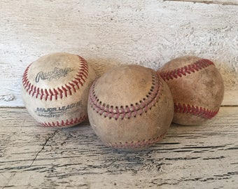 Collection of 3 Worn Baseballs, Softballs - Rustic Decor for Child's Room or Game Room
