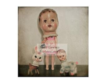 Vintage Doll Head Weird Photography 12x12 Inch Print, Creepy Cute Wall Art, Strange Art Large Print, frighten