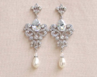 Crystal Bridal Earrings, 55% OFF SALE, Chandelier Wedding Earrings, Swarovski Pearl Bridal Earrings, Vintage Style, Paige Earrings