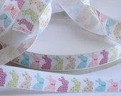 """Easter Bunny Ribbon 5 yards 7/8"""" Grosgrain White Ribbon w/ Pastel Colored Bunnies Hair Bow Party Favor Ties Floral Pattern Pink Yellow Blue"""