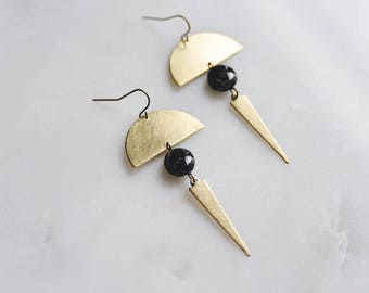 minimal boho geometric spike earrings