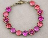 NEW Fuchsia Pink Coral Rainbow Tennis Bracelet,Embellished Swarovski Rhinestone Crystal Bracelet,Bright Pink,Padparadscha,8mm,Womens,Summer