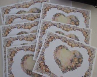 Eight Blank Notecards Vintage Floral Hearts Roses Watercolors Designs Invitations Cards Wedding Supplies Telstar Graphics Cheryl Smith