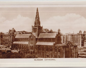 Glascow cathedral - Scotland - antique postcard - Vintage deco - photography - UK - Free shipping Canada USA