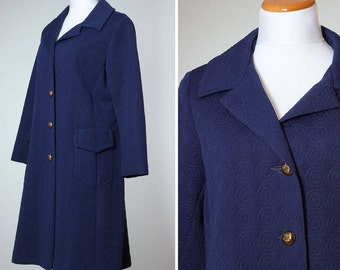 Vintage Navy Blue Peacoat MEDIUM / LARGE Women's Coat Outerwear Trench Pea Coat Quilted 4BB