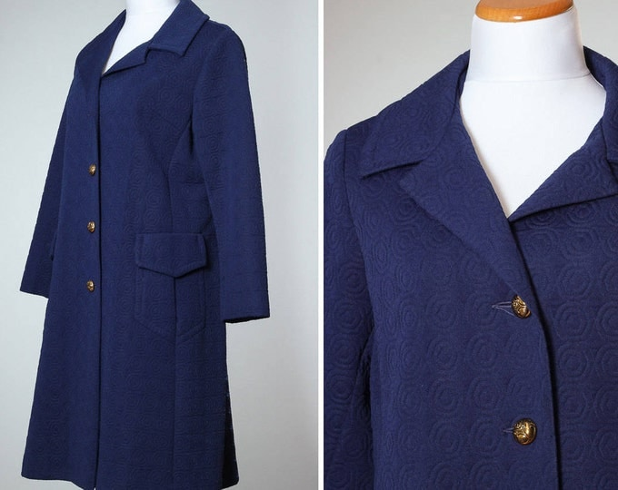 Vintage Navy Blue Peacoat MEDIUM Women's Coat Outerwear Trench Pea Coat Quilted 4BB
