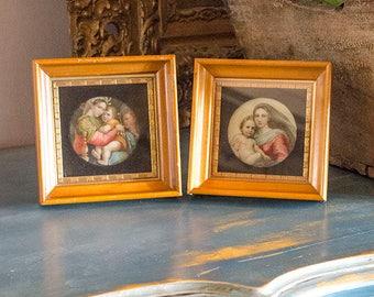 Vintage Pr Madonna Prints, Raphael's Madonna, Set of Two, Italian
