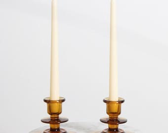 Vintage Amber Yellow Glass Candlestick Holder
