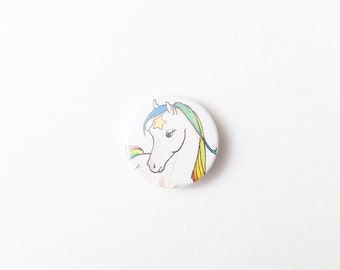 Starlite, Rainbow Brite's Horse - A Badge  / Pinback Button made from a Vintage Rainbow Brite Book, 38mm 1.5 Inches
