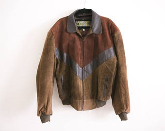 Brown Leather Varsity Jacket / Leather Suede Jacket / Collared Zip Up Bomber Jacket / Letterman Two Tone Pocket 1970s Retro Unisex Large