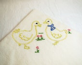 Vintage, Yellow Ducks Kitchen Towel, Hand Embroidered Kitchen Towel, Embroidery Towel