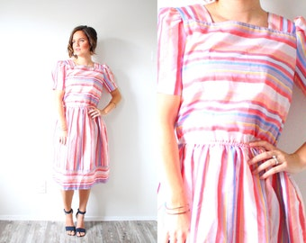 Vintage classic pink striped 50's 60's summer dress // summer dress // modest // 1950's modest light pink dress // short sleeve baby doll