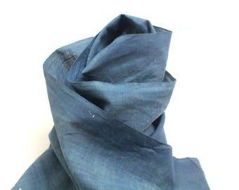 Japanese Indigo Cotton. Artisan Aizome Boro Textile. Blue Vintage Folk Fabric (Ref: 1768aa)