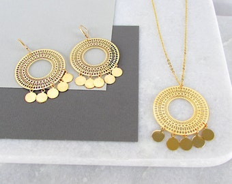 Boho Jewellery - Boho Hoops, Bohemian Jewellery, Hoop Earrings, Tribal Earrings, Gold Necklace, Gold Jewellery Set, Boho Chic, Gift Set
