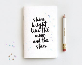 Shine Bright Like the Moon and the Stars Notebook Insert & Pencil Set, Stocking Stuffer Watercolor Galaxy, Mini Medium Midori Insert