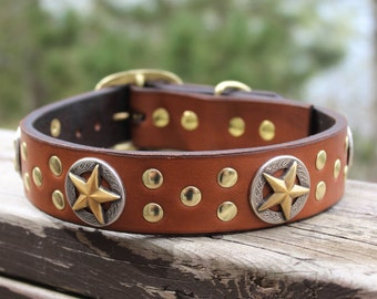 Leather Dog Collar, Leather Collar with Stars, Wide Leather Collar, Large Dog Collar, Custom Dog Collar, Leather Collar, Western Dog Collar