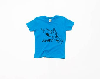 Adopt a Dog Tee, Kids Tee, Blue Tshirt, Baby Tee, 3-6 months- 4T