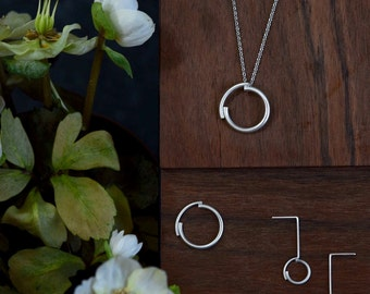 Set of silver ring, earrings and necklace // modern jewelry // Unique jewelry // CP003 CP002 CP004
