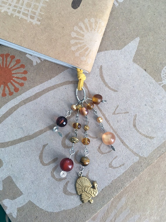 Turkey Bookmark Beaded Thanksgiving Book Thong Holiday Reading Hostess Gift