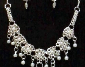 """Chainmaille Wedding Necklace & Earring Set (Bridal Colors Possible) """"Free Shipping"""""""