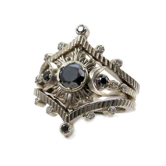 Moon and Star Diamond Engagement Ring Set - Black and White Gothic Celestial Wedding Rings