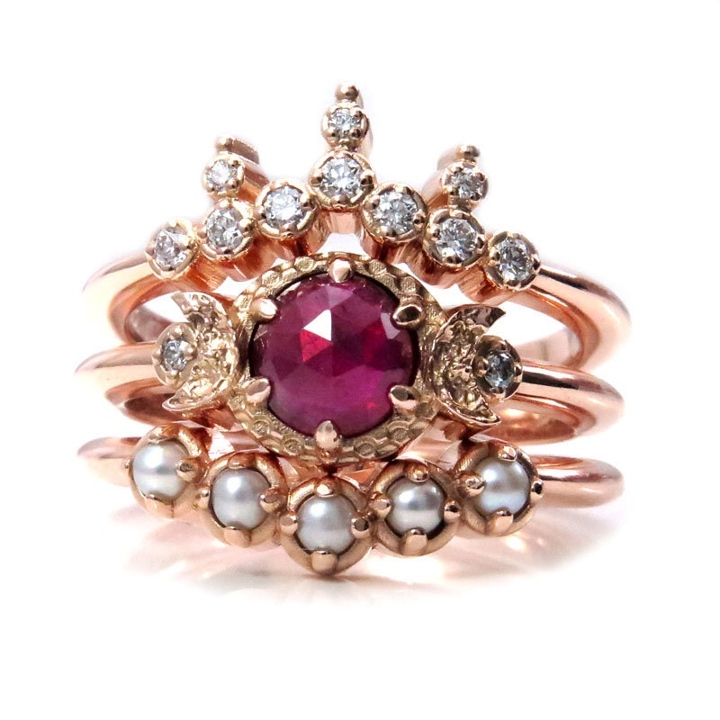 Victorian Ruby Engagement Ring Set Pointed Diamond Crown And