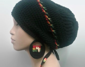 MADE TO ORDER Black slouch hat/Dreadlock hat w rasta stripes/drawstring Red Gold Green/ free African crochet earrings/detachable flower clip