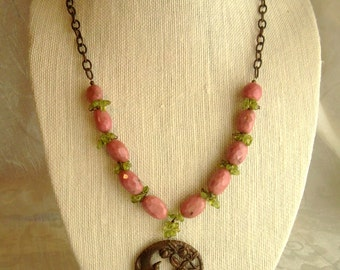 Rhodonite, Peridot, and Vintaj Brass Pendant Necklace