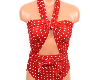Large Bathing Suit Wrap Around Swimsuit Red Polka Dots Womens, Teen and Maternity Resort Wear One Piece Swimwear One Wrap hisOpal