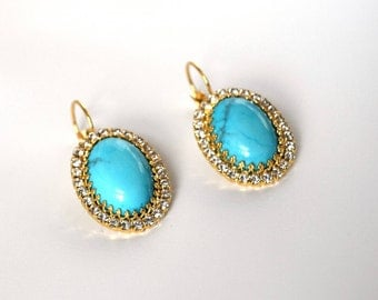 Regency Turquoise Earrings, Faux Turquoise Rhinestone Earrings, Blue 19th Century, Swarovski Crystal Earrings, Historical Halo Earring